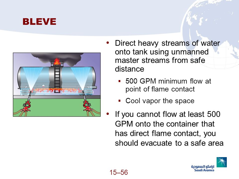15–56 BLEVE Direct heavy streams of water onto tank using unmanned master streams from safe distance 500 GPM minimum flow at point of flame contact Co