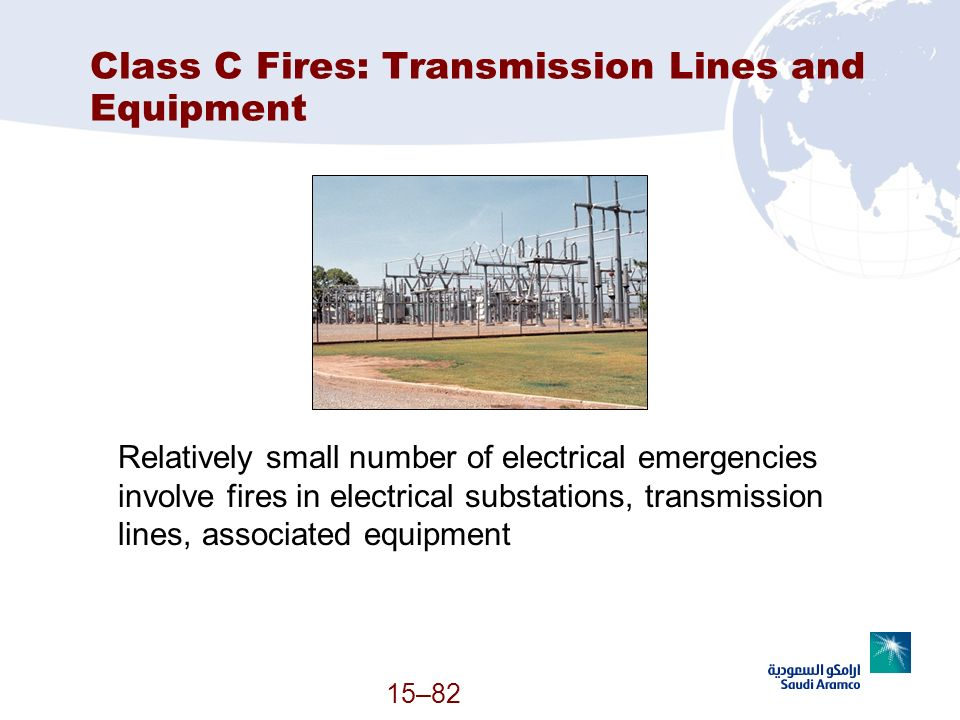 15–82 Class C Fires: Transmission Lines and Equipment Relatively small number of electrical emergencies involve fires in electrical substations, trans