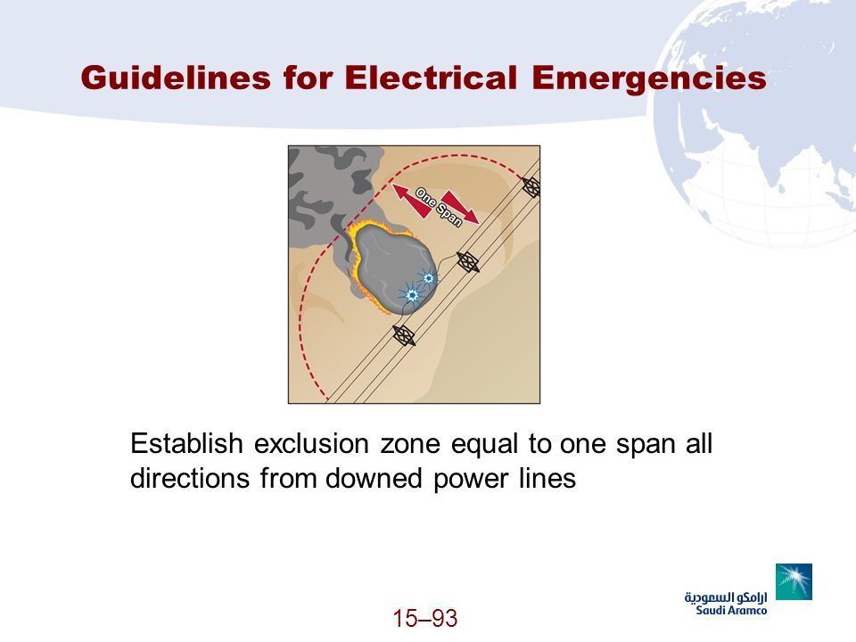 15–93 Guidelines for Electrical Emergencies Establish exclusion zone equal to one span all directions from downed power lines (Continued)