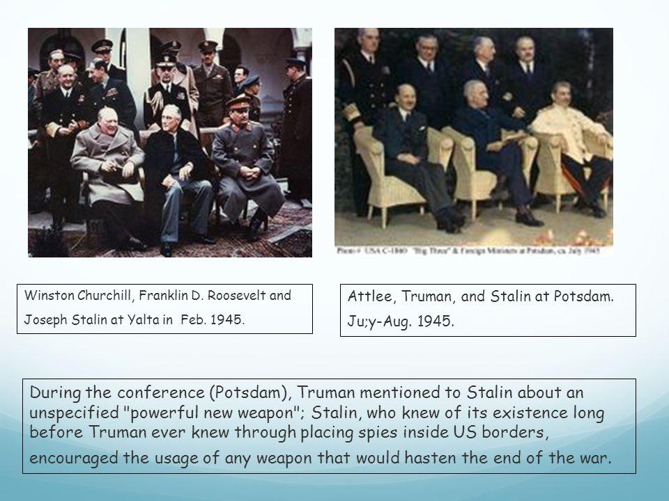 Winston Churchill, Franklin D. Roosevelt and Joseph Stalin at Yalta in Feb.