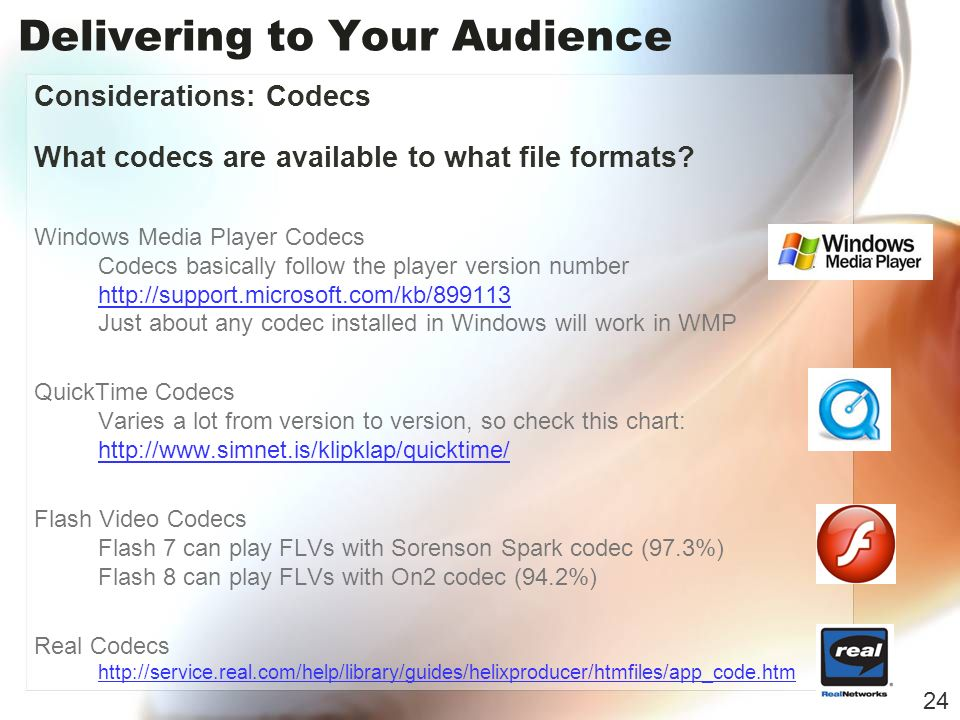 Delivering to Your Audience Considerations: Codecs What codecs are available to what file formats.