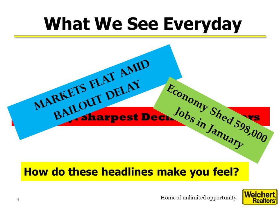 Home of unlimited opportunity.4 4 What We See Everyday How do these headlines make you feel.
