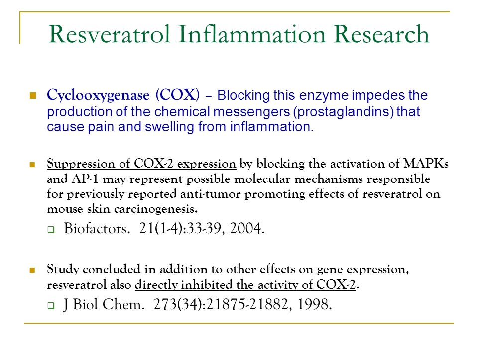 Cyclooxygenase (COX) – Blocking this enzyme impedes the production of the chemical messengers (prostaglandins) that cause pain and swelling from inflammation.