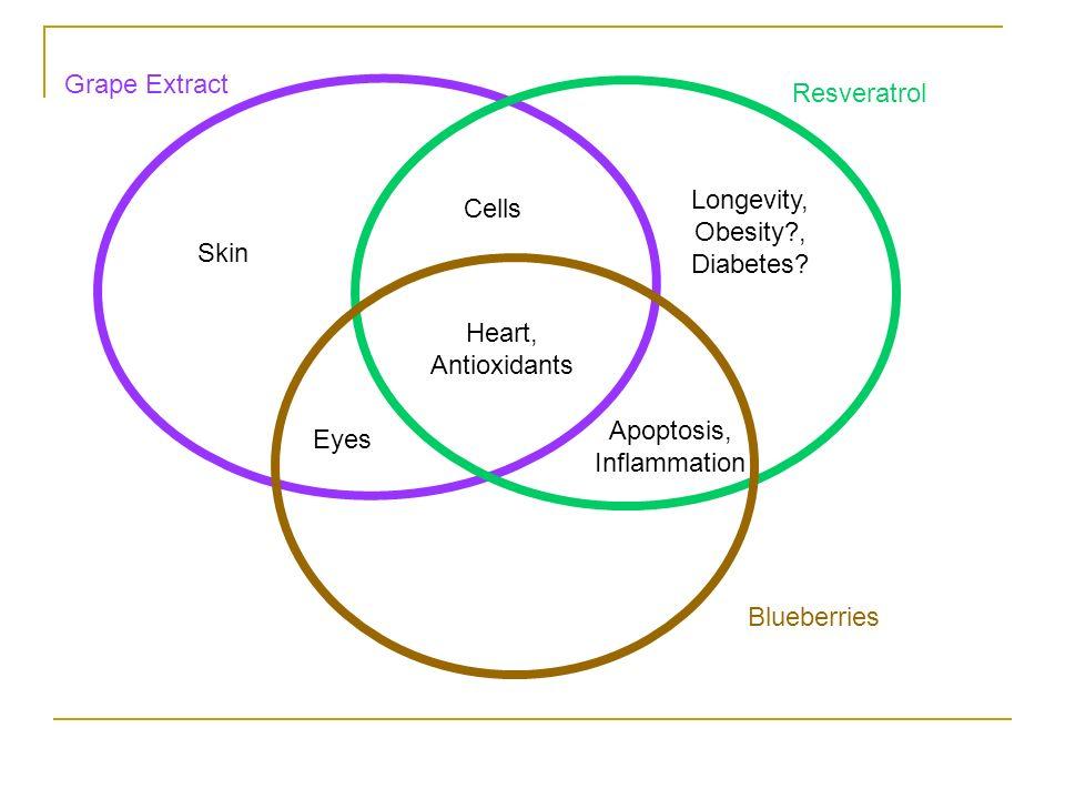 Resveratrol Blueberries Grape Extract Heart, Antioxidants Eyes Longevity, Obesity?, Diabetes.
