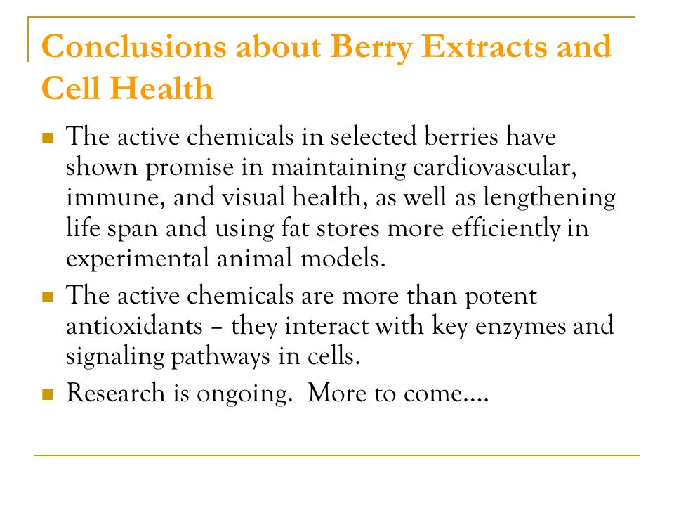 Conclusions about Berry Extracts and Cell Health The active chemicals in selected berries have shown promise in maintaining cardiovascular, immune, and visual health, as well as lengthening life span and using fat stores more efficiently in experimental animal models.