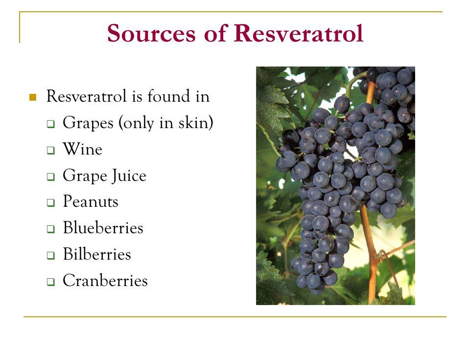 Sources of Resveratrol Resveratrol is found in Grapes (only in skin) Wine Grape Juice Peanuts Blueberries Bilberries Cranberries