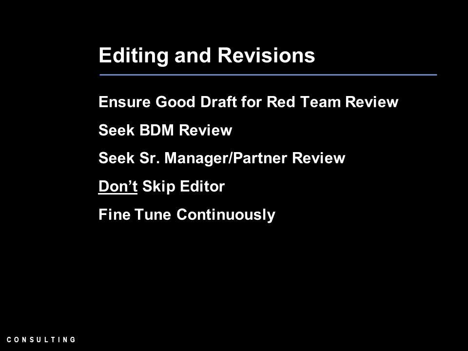 C O N S U L T I N G Editing and Revisions Ensure Good Draft for Red Team Review Seek BDM Review Seek Sr. Manager/Partner Review Dont Skip Editor Fine