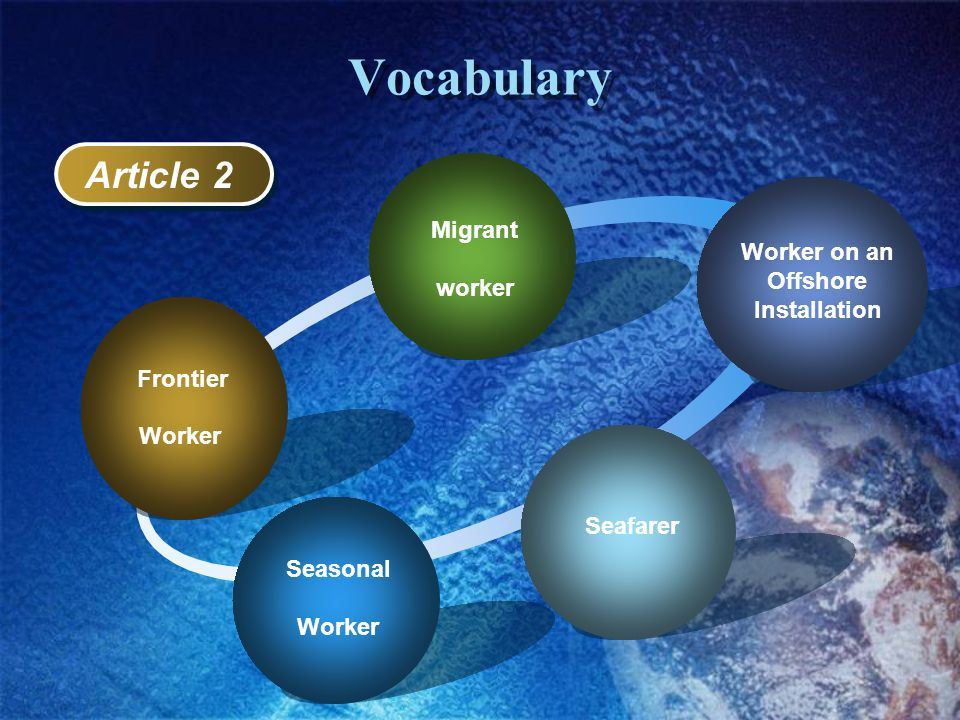 Vocabulary Frontier Worker Migrant worker Worker on an Offshore Installation Seafarer Seasonal Worker Article 2