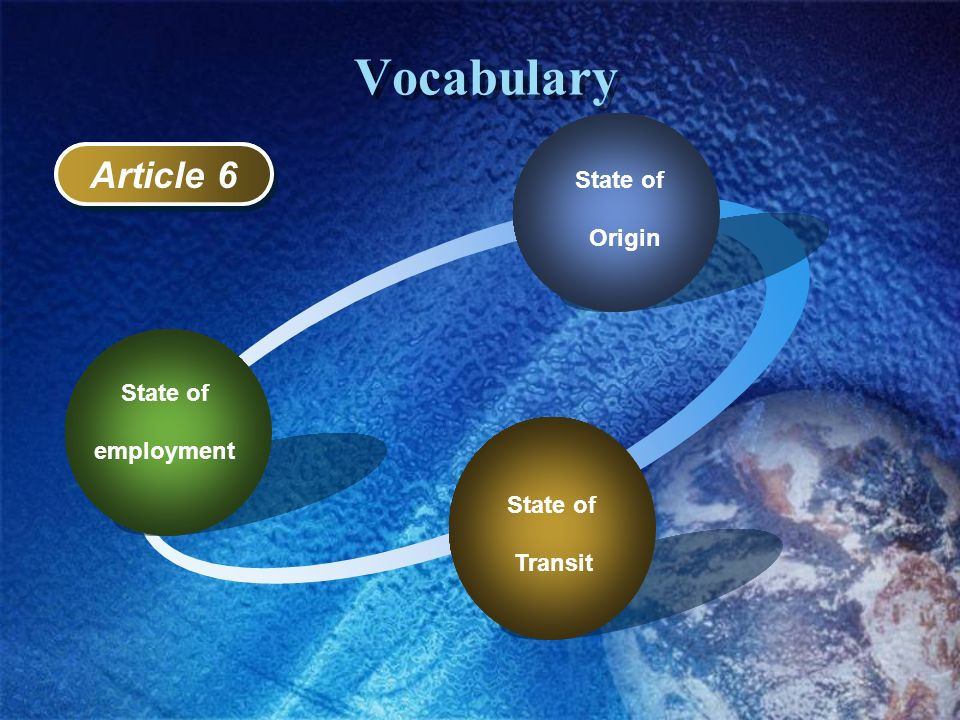 Vocabulary State of Transit State of employment Article 2 State of Origin Article 6