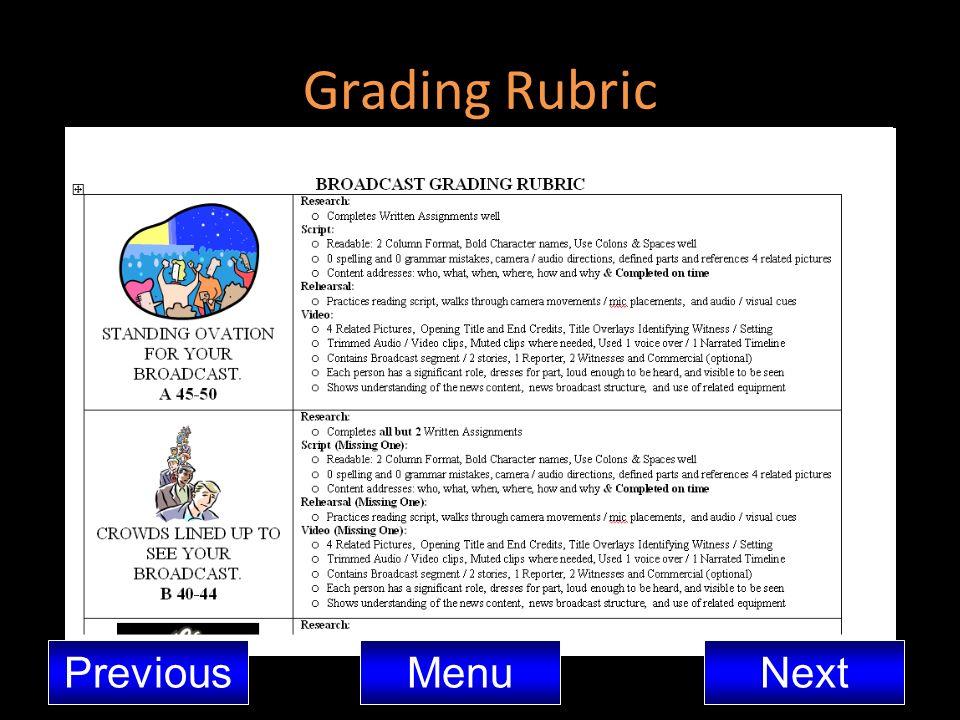 Grading Rubric MenuNextPrevious