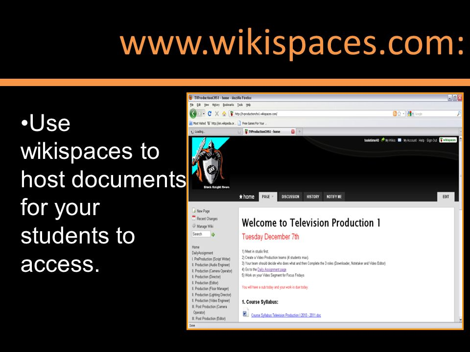 www.wikispaces.com: Use wikispaces to host documents for your students to access.