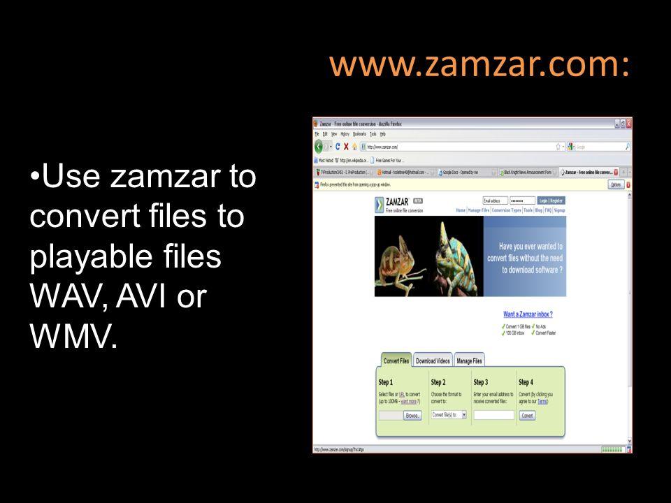 www.zamzar.com: Use zamzar to convert files to playable files WAV, AVI or WMV.