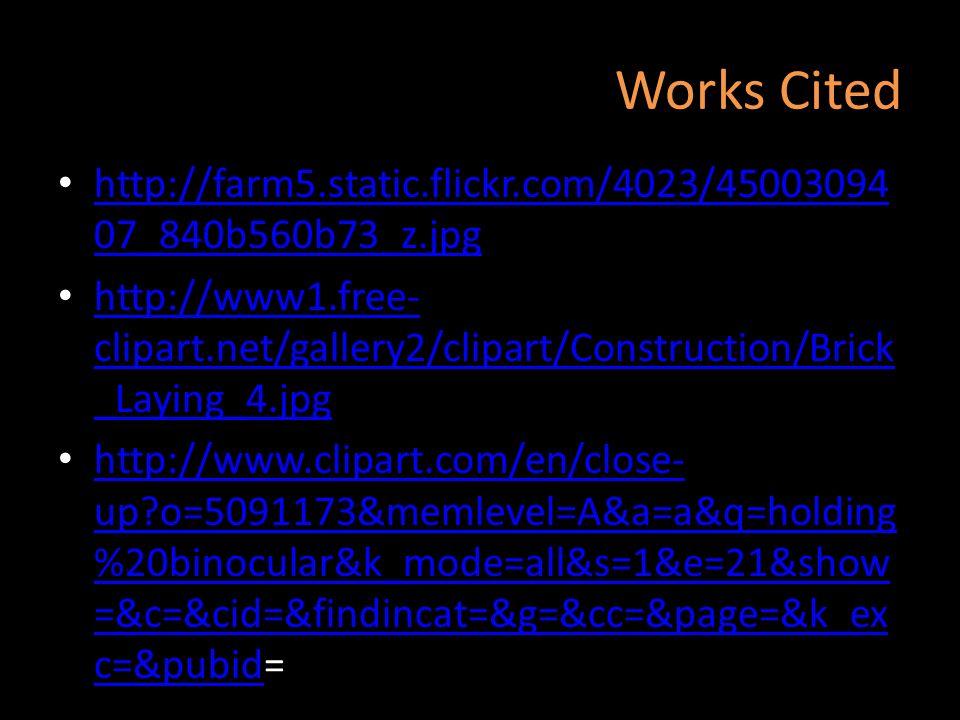 Works Cited http://farm5.static.flickr.com/4023/45003094 07_840b560b73_z.jpg http://farm5.static.flickr.com/4023/45003094 07_840b560b73_z.jpg http://w