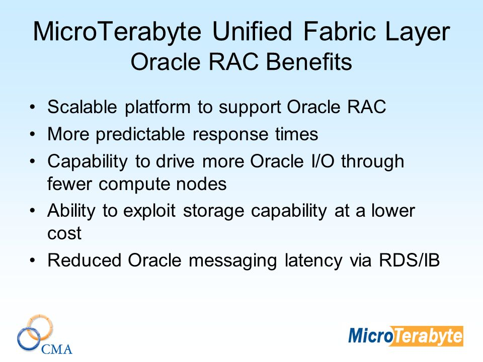 MicroTerabyte Unified Fabric Layer Oracle RAC Benefits Scalable platform to support Oracle RAC More predictable response times Capability to drive more Oracle I/O through fewer compute nodes Ability to exploit storage capability at a lower cost Reduced Oracle messaging latency via RDS/IB