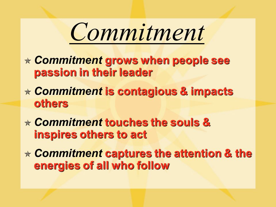Components of Leadership Commitment All Consuming Climate Control Passion Pro-Active Commitment All Consuming Climate Control Passion Pro-Active
