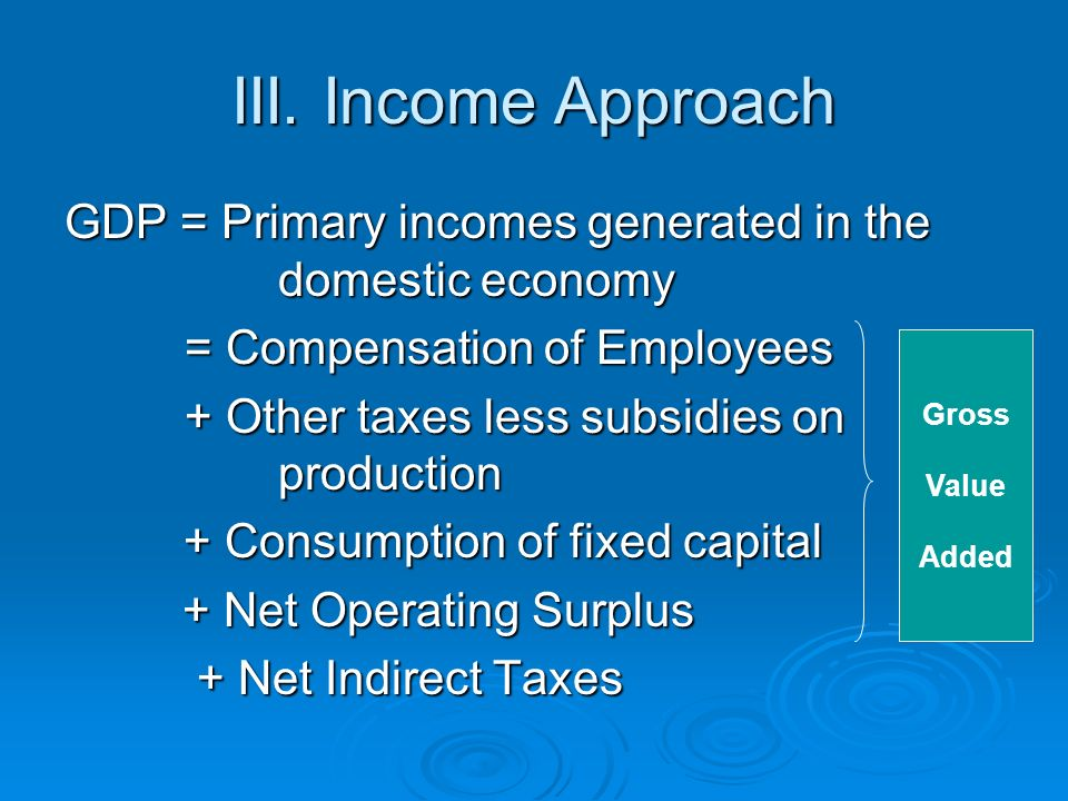 III. Income Approach GDP = Primary incomes generated in the domestic economy = Compensation of Employees = Compensation of Employees + Other taxes les