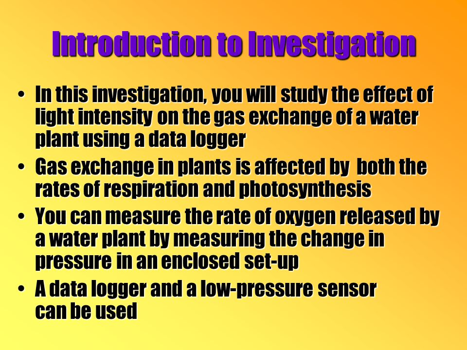 Introduction to Investigation In this investigation, you will study the effect of light intensity on the gas exchange of a water plant using a data loggerIn this investigation, you will study the effect of light intensity on the gas exchange of a water plant using a data logger Gas exchange in plants is affected by both the rates of respiration and photosynthesisGas exchange in plants is affected by both the rates of respiration and photosynthesis You can measure the rate of oxygen released by a water plant by measuring the change in pressure in an enclosed set-upYou can measure the rate of oxygen released by a water plant by measuring the change in pressure in an enclosed set-up A data logger and a low-pressure sensor can be usedA data logger and a low-pressure sensor can be used