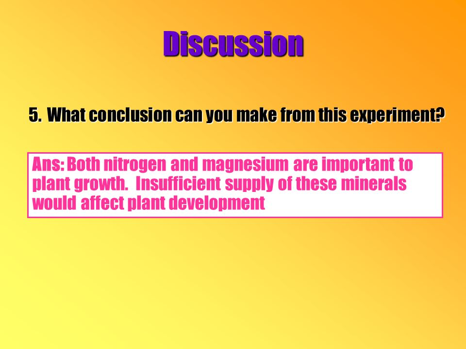 Discussion 5.What conclusion can you make from this experiment.