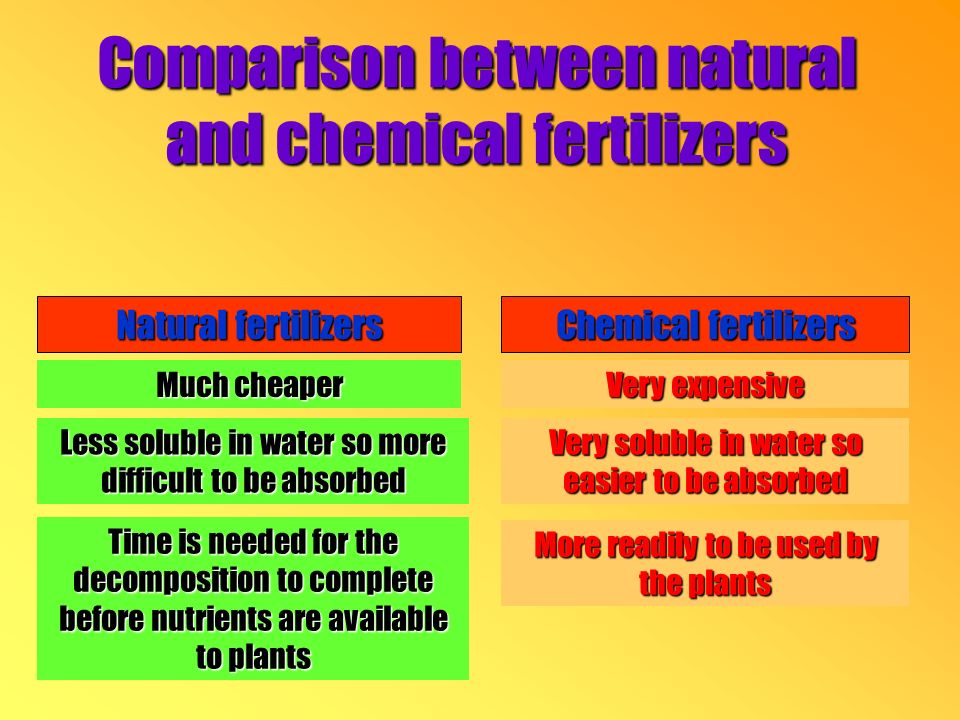 Comparison between natural and chemical fertilizers Natural fertilizers Less soluble in water so more difficult to be absorbed Time is needed for the decomposition to complete before nutrients are available to plants Much cheaper Chemical fertilizers Very expensive Very soluble in water so easier to be absorbed More readily to be used by the plants