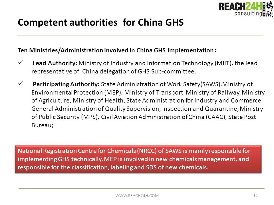 Competent authorities for China GHS Ten Ministries/Administration involved in China GHS implementation : Lead Authority: Ministry of Industry and Info