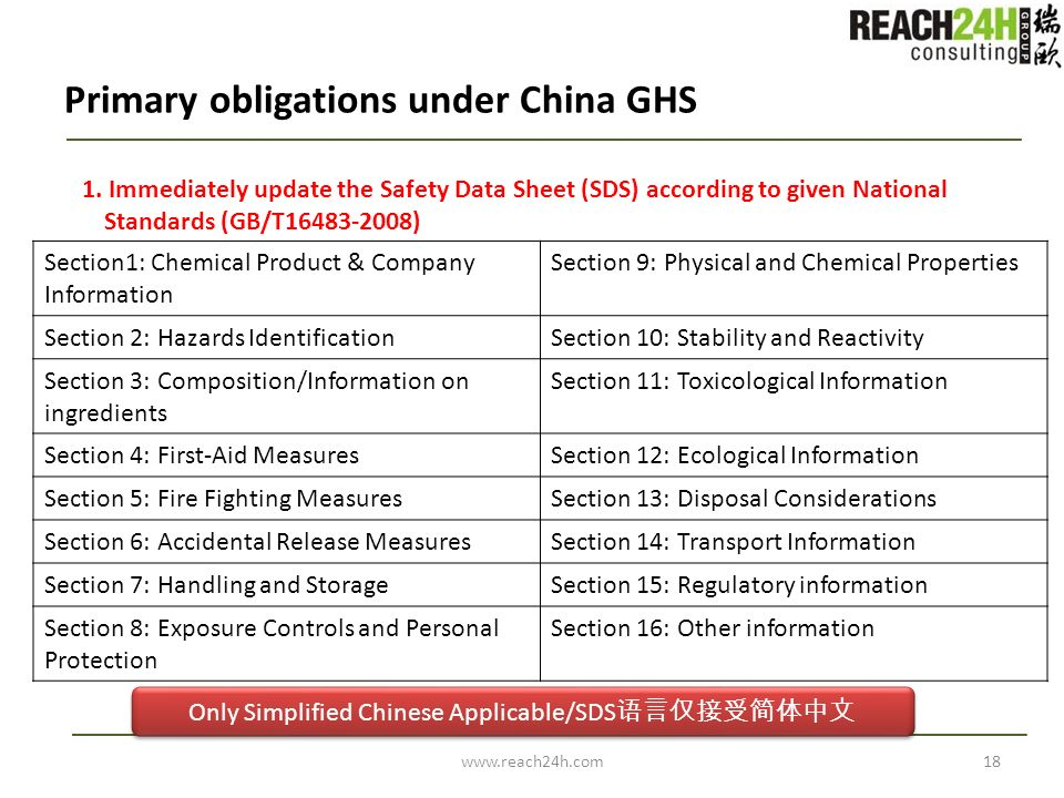 Primary obligations under China GHS 1. Immediately update the Safety Data Sheet (SDS) according to given National Standards (GB/T16483-2008) www.reach
