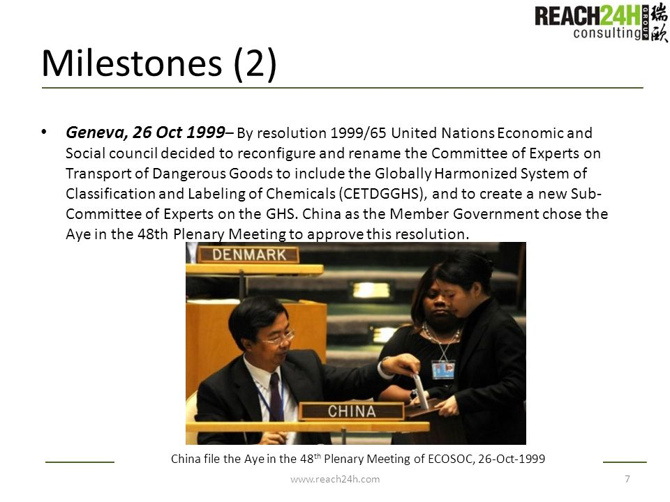 Milestones (2) Geneva, 26 Oct 1999 – By resolution 1999/65 United Nations Economic and Social council decided to reconfigure and rename the Committee