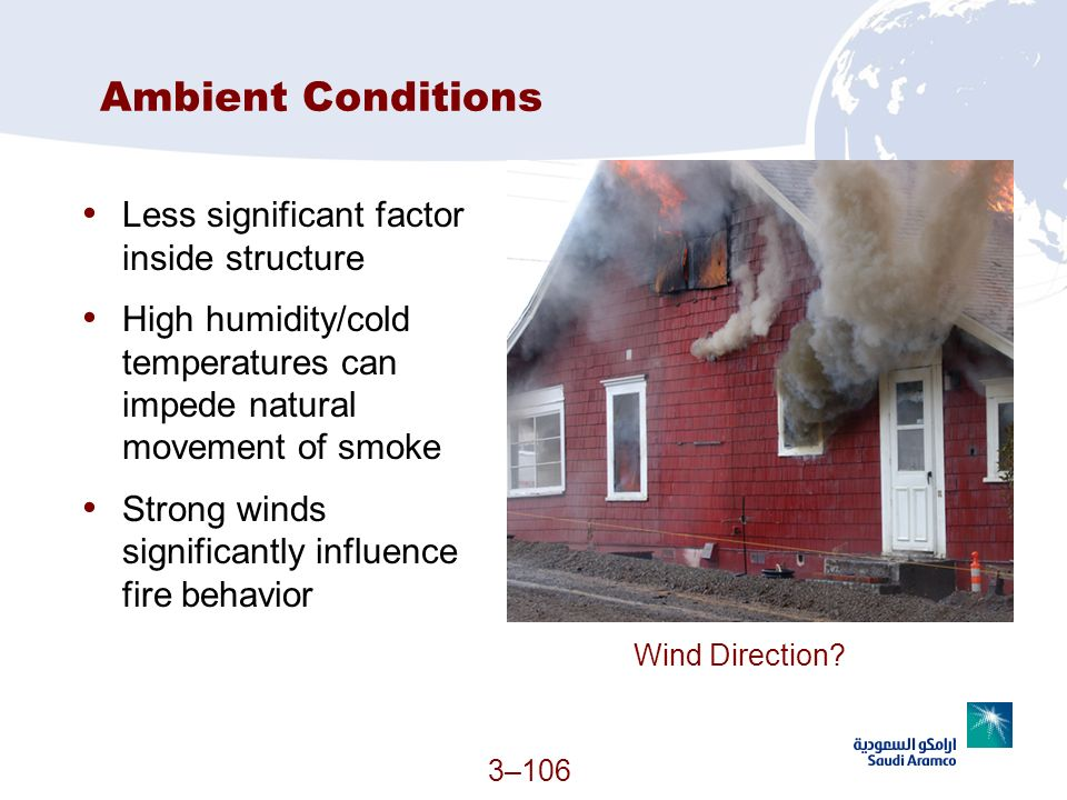 3–106 Ambient Conditions Less significant factor inside structure High humidity/cold temperatures can impede natural movement of smoke Strong winds si