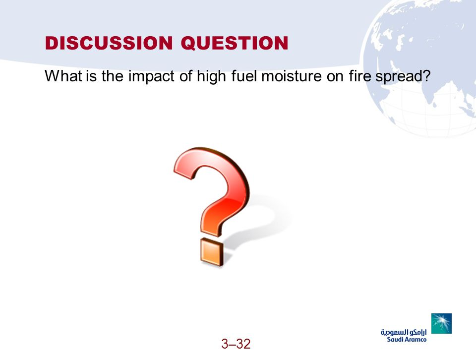 3–32 DISCUSSION QUESTION What is the impact of high fuel moisture on fire spread?