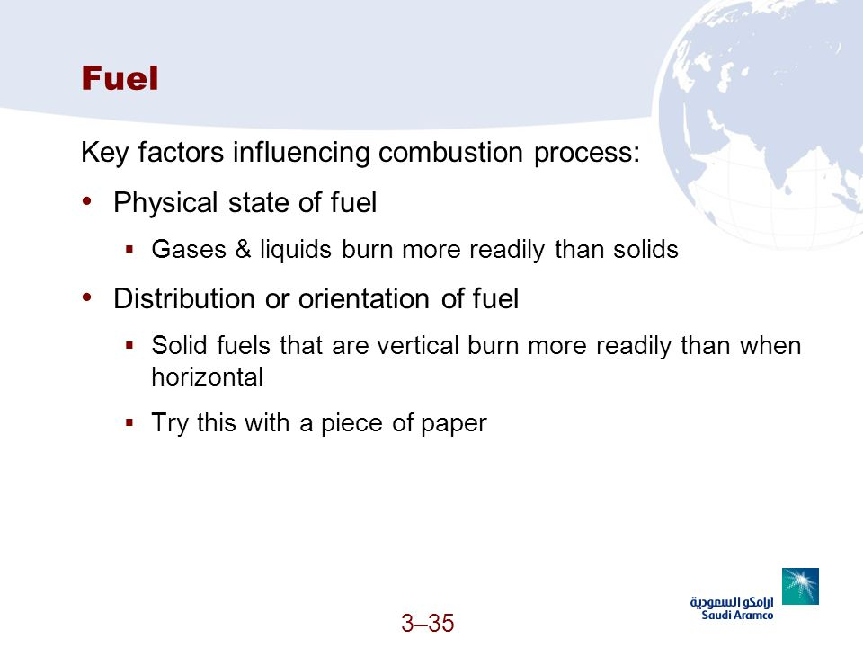 3–35 Fuel Key factors influencing combustion process: Physical state of fuel Gases & liquids burn more readily than solids Distribution or orientation