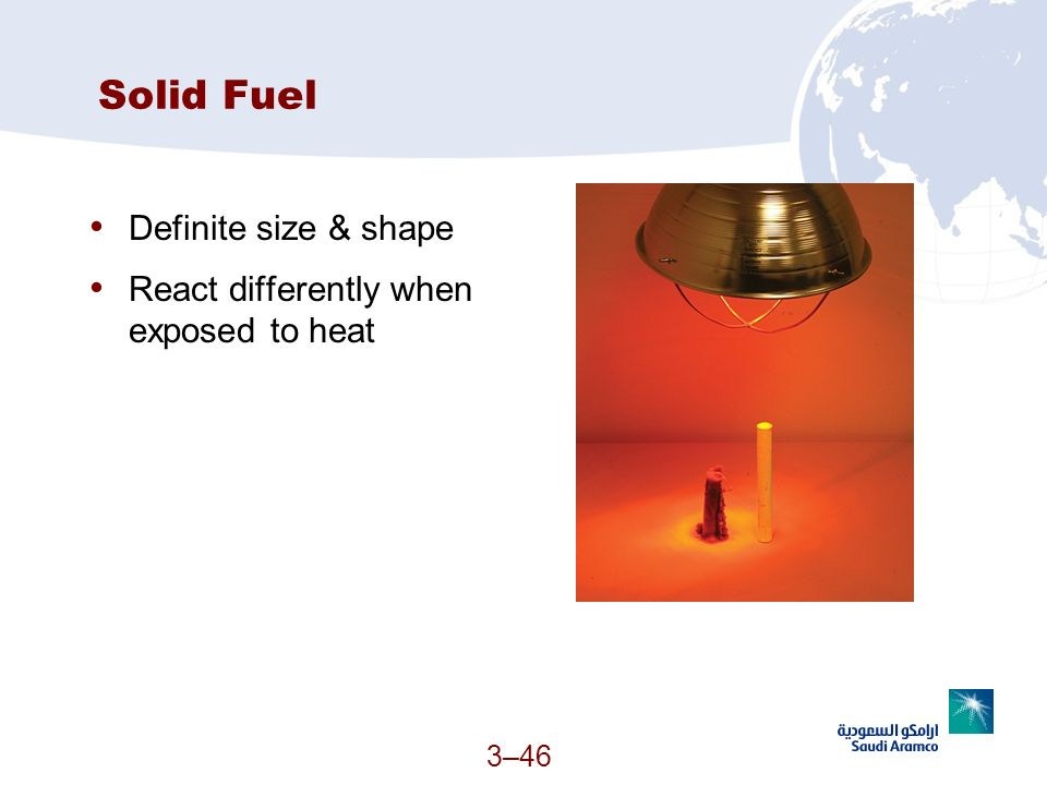 3–46 Solid Fuel Definite size & shape React differently when exposed to heat (Continued)