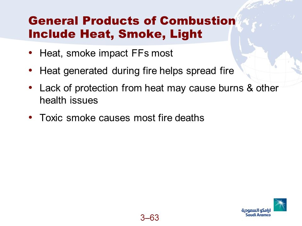 3–63 General Products of Combustion Include Heat, Smoke, Light Heat, smoke impact FFs most Heat generated during fire helps spread fire Lack of protec