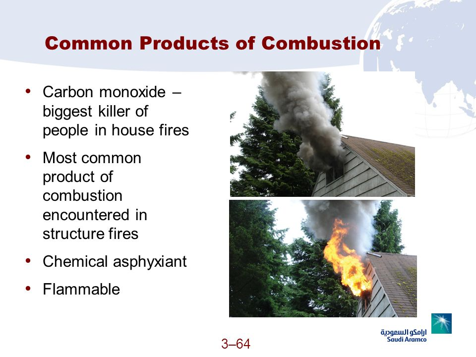3–64 Common Products of Combustion Carbon monoxide – biggest killer of people in house fires Most common product of combustion encountered in structur