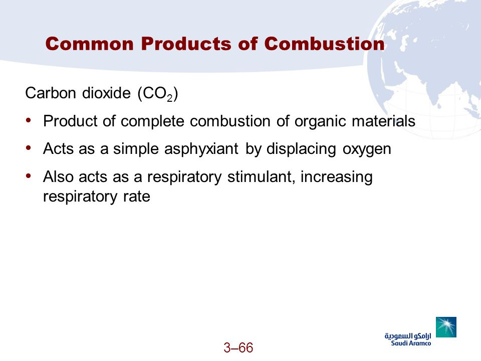 3–66 Common Products of Combustion Carbon dioxide (CO 2 ) Product of complete combustion of organic materials Acts as a simple asphyxiant by displacin