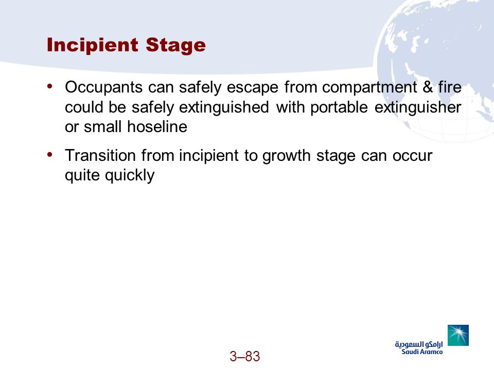 3–83 Incipient Stage Occupants can safely escape from compartment & fire could be safely extinguished with portable extinguisher or small hoseline Tra
