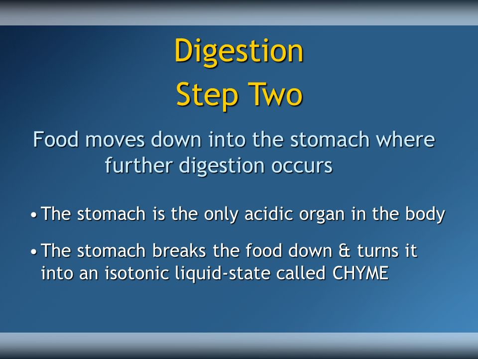 This chyme moves down into the small intestine, for further digestion and absorption.