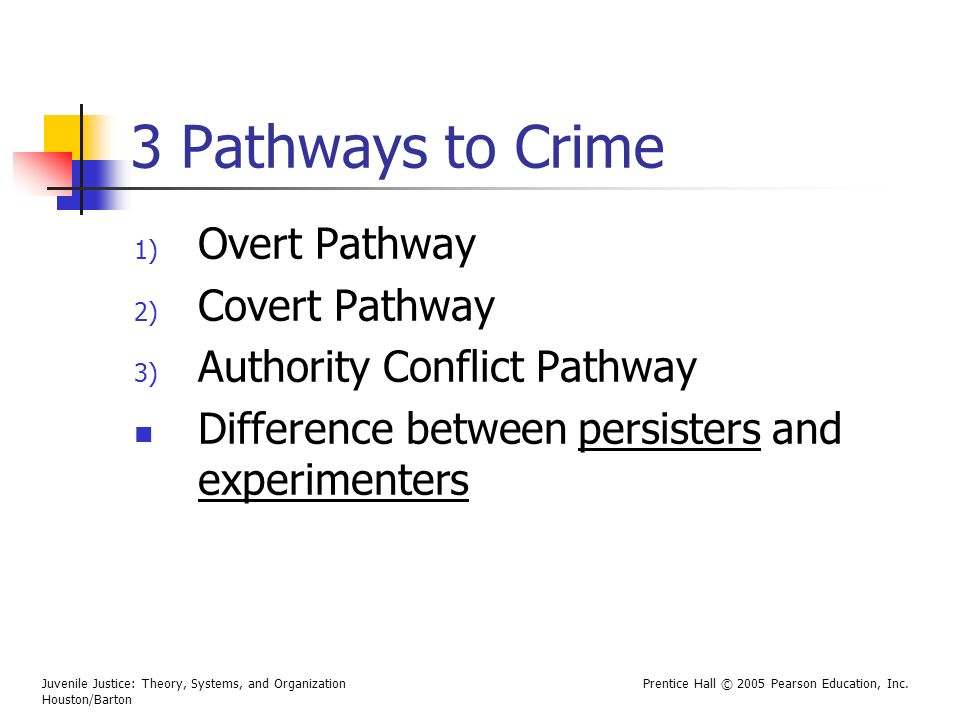 Juvenile Justice: Theory, Systems, and Organization Houston/Barton Prentice Hall © 2005 Pearson Education, Inc. 3 Pathways to Crime 1) Overt Pathway 2