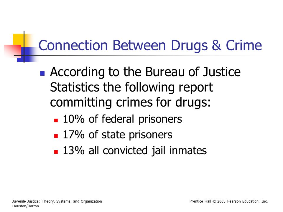 Juvenile Justice: Theory, Systems, and Organization Houston/Barton Prentice Hall © 2005 Pearson Education, Inc. Connection Between Drugs & Crime Accor