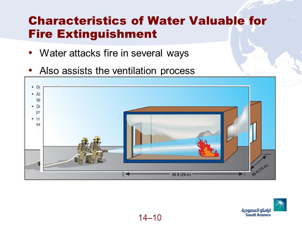 14–10 Characteristics of Water Valuable for Fire Extinguishment Water attacks fire in several ways Also assists the ventilation process
