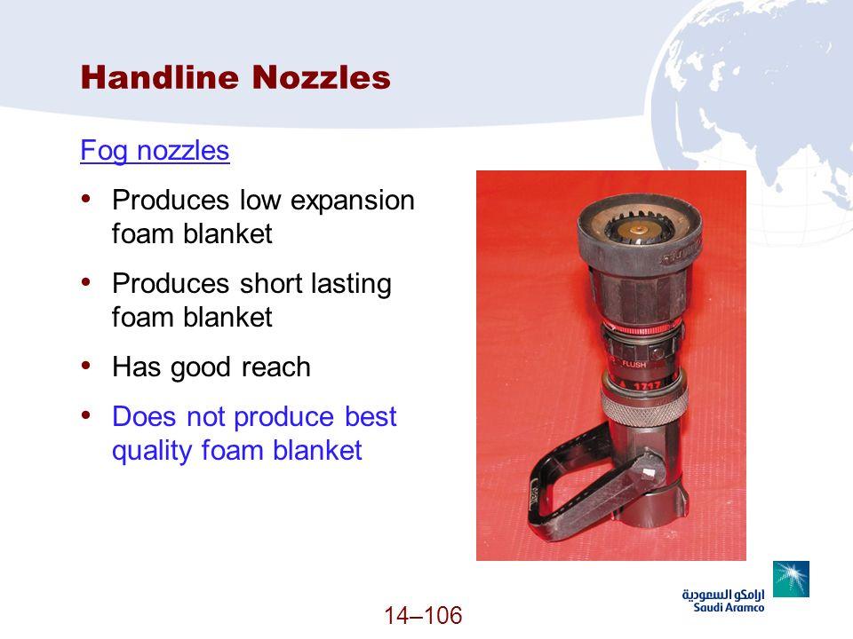 Handline Nozzles Fog nozzles Produces low expansion foam blanket Produces short lasting foam blanket Has good reach Does not produce best quality foam