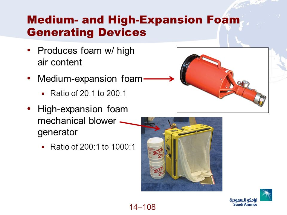 Medium- and High-Expansion Foam Generating Devices Produces foam w/ high air content Medium-expansion foam Ratio of 20:1 to 200:1 High-expansion foam