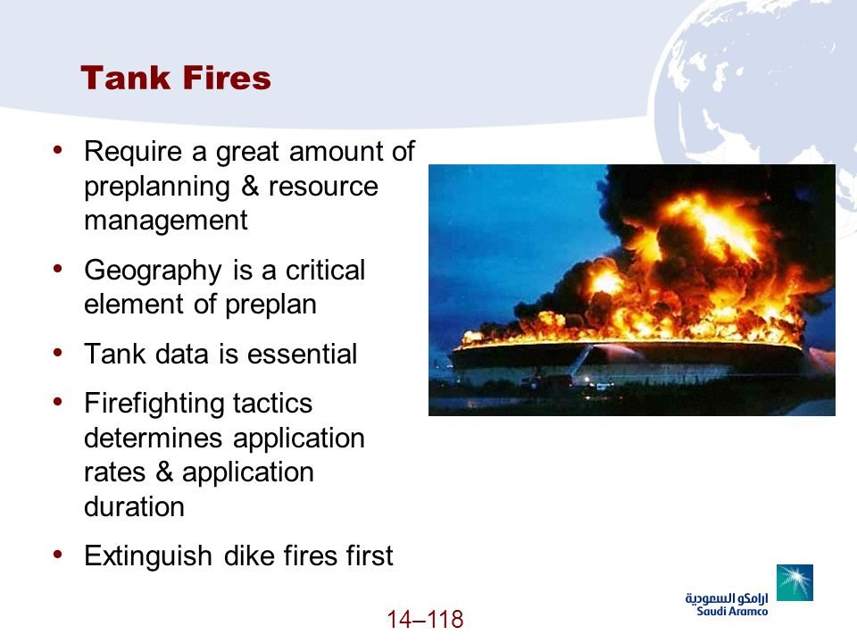 Tank Fires Require a great amount of preplanning & resource management Geography is a critical element of preplan Tank data is essential Firefighting