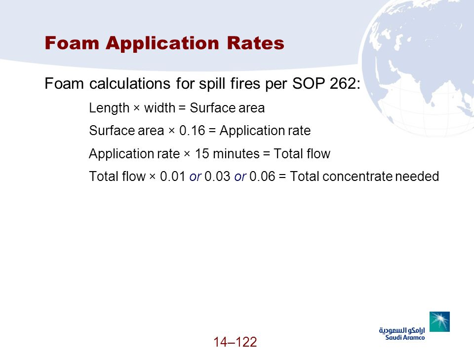 Foam Application Rates Foam calculations for spill fires per SOP 262: Length × width = Surface area Surface area × 0.16 = Application rate Application