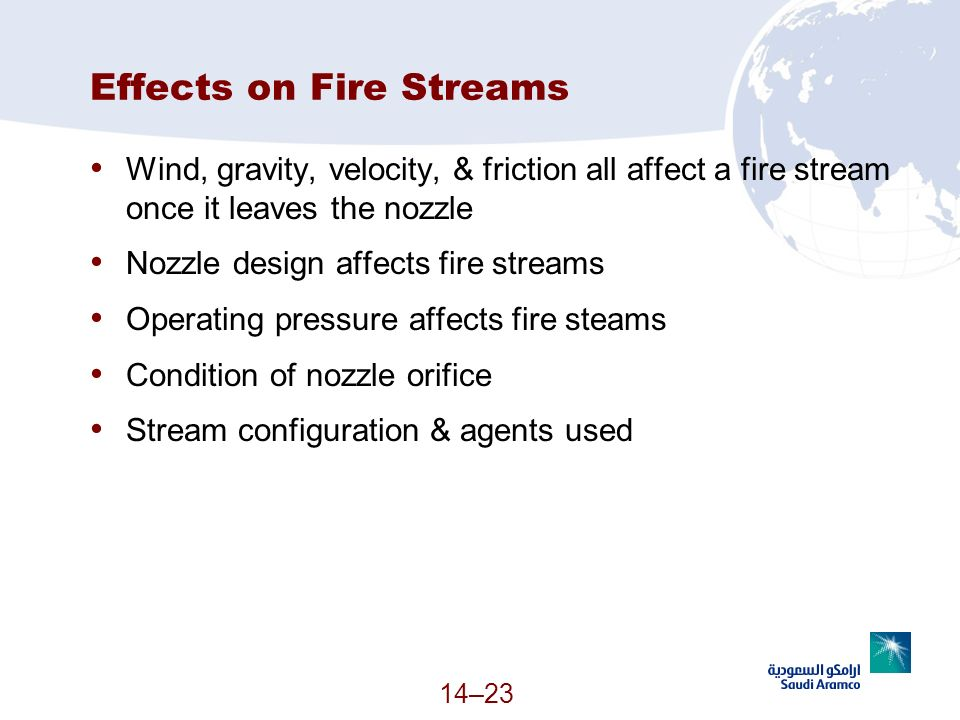 14–23 Effects on Fire Streams Wind, gravity, velocity, & friction all affect a fire stream once it leaves the nozzle Nozzle design affects fire stream