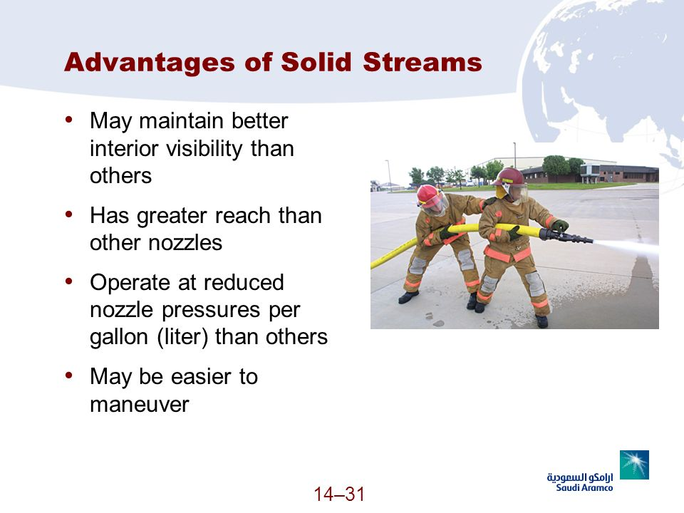 14–31 Advantages of Solid Streams May maintain better interior visibility than others Has greater reach than other nozzles Operate at reduced nozzle p