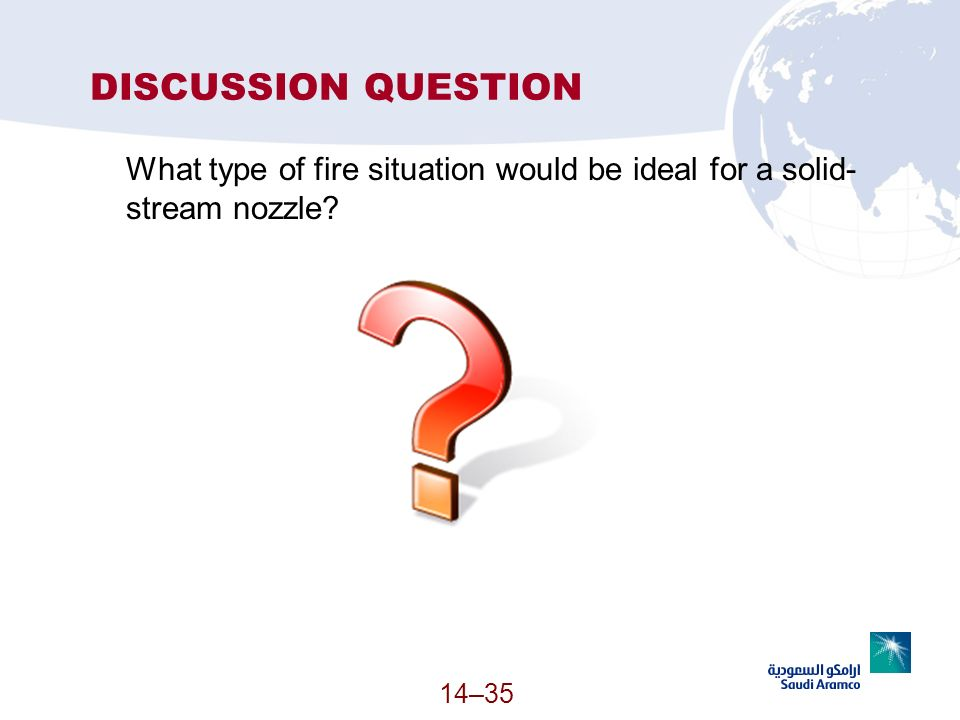 14–35 DISCUSSION QUESTION What type of fire situation would be ideal for a solid- stream nozzle?