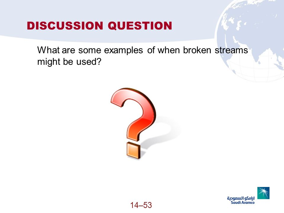 14–53 DISCUSSION QUESTION What are some examples of when broken streams might be used?