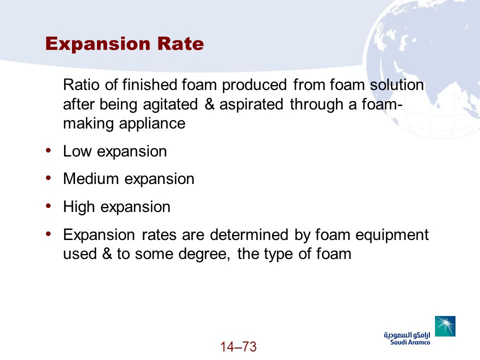 Expansion Rate Ratio of finished foam produced from foam solution after being agitated & aspirated through a foam- making appliance Low expansion Medi