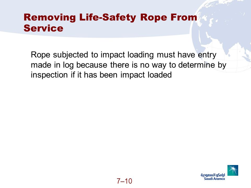 7–10 Removing Life-Safety Rope From Service Rope subjected to impact loading must have entry made in log because there is no way to determine by inspe