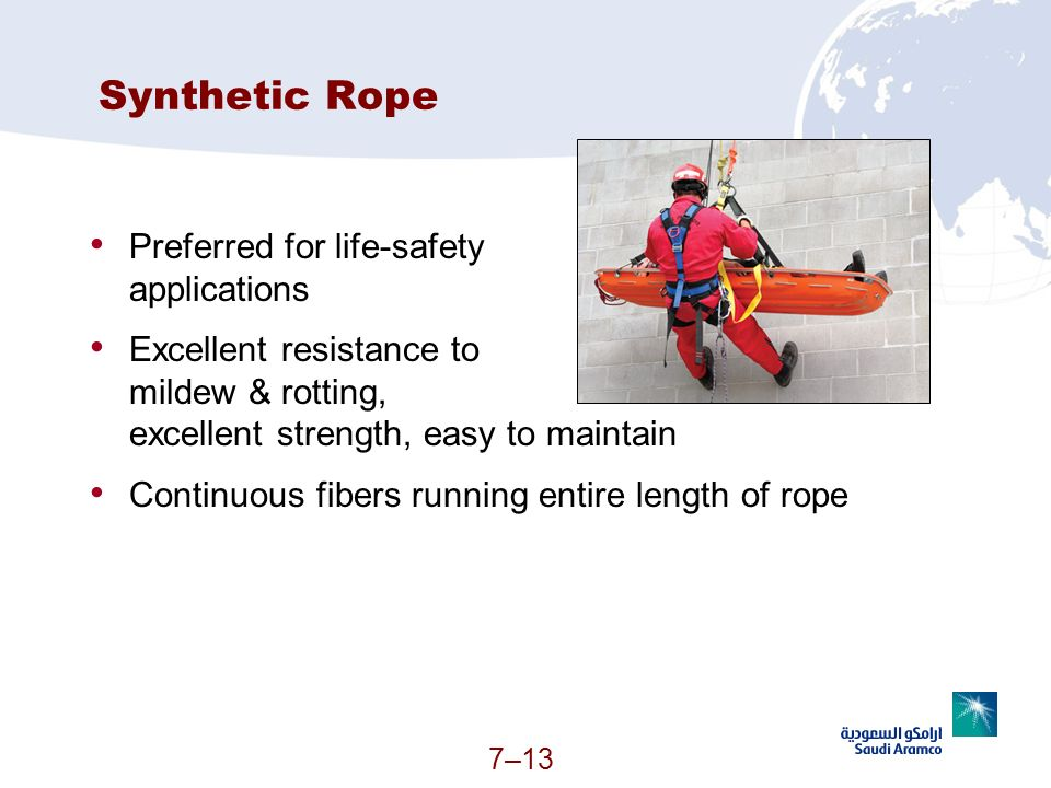 7–13 Synthetic Rope Preferred for life-safety applications Excellent resistance to mildew & rotting, excellent strength, easy to maintain Continuous f
