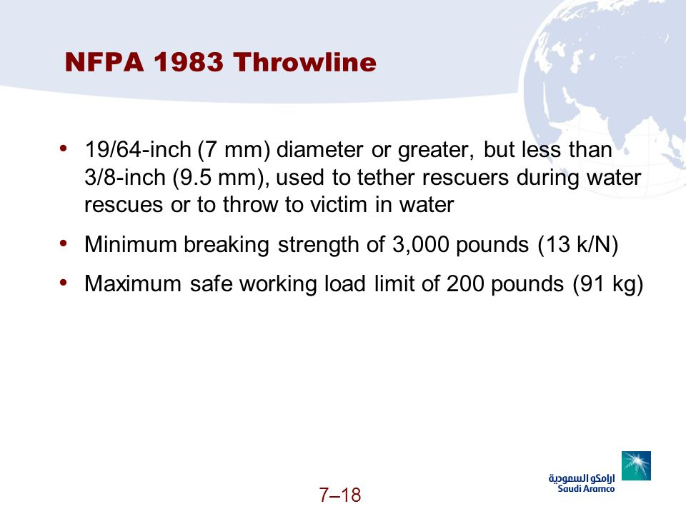 7–18 NFPA 1983 Throwline 19/64-inch (7 mm) diameter or greater, but less than 3/8-inch (9.5 mm), used to tether rescuers during water rescues or to th